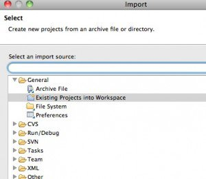 Eclipse: Import existing projects into Workspace